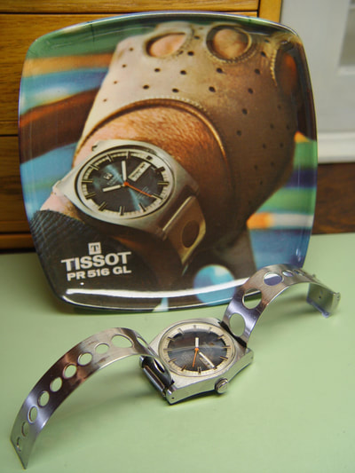 Tissot PR516 with st. steel rally bracelet and advertising plate