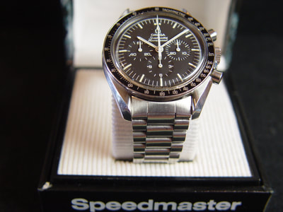 Omega Speedmaster 145.022 w Moon crater box for sale